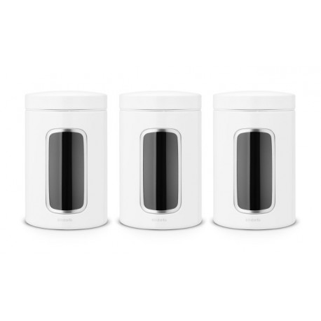 Set 3 Barattoli Window Canister 1.4L finestra frontale Bianco 151224