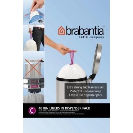 Bin Liner C dispenser da 40 sacchetti rifiuti 10/12L Bianco