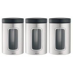 Set 3 Window Canister 1.4L cm. finestra frontale, cop. Nero, anti-impronte Inox Satinato F 335341