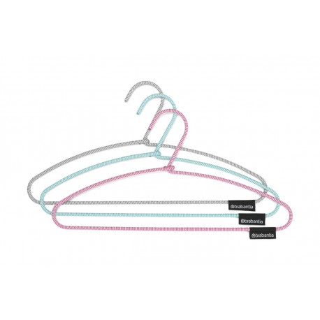 Soft Touch Clothes Hangers - set 3 grucce rivestite in tessuto anti-scivolo Mint, Pink, Dark Grey 105548