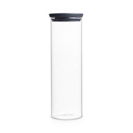 Barattolo Stackable Glass Jar 1.9L in vetro, cop. Dark Grey Trasparente 298240