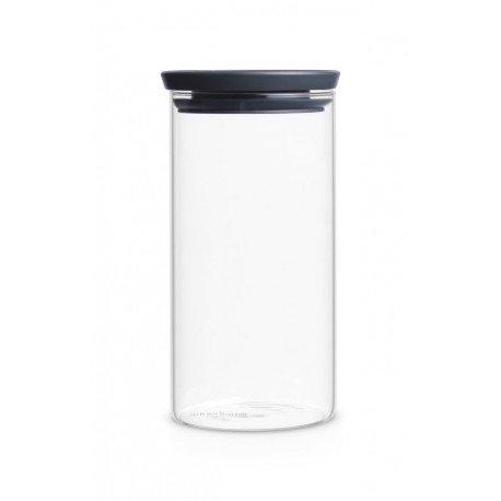 Barattolo Stackable Glass Jar 1.1L in vetro, cop. Dark Grey Trasparente 298264