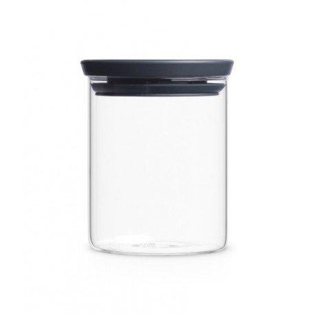 Barattolo Stackable Glass Jar 0.7L in vetro, cop. Dark Grey Trasparente 298288