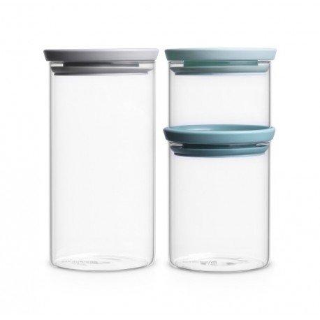 Set 3 Barattoli Stackable Glass Jar 0.3L, 0.7L, 1.1L in vetro, cop. Grey / Mint Trasparen 298325