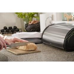 Portapane Roll Top Bread Bin apertura a scomparsa, lati Nero, anti-impronte Inox Satin 299445