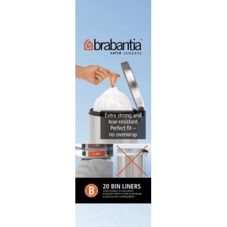 Bin Liner B rotolo da 20 sacchetti rifiuti 5L Bianco 311741