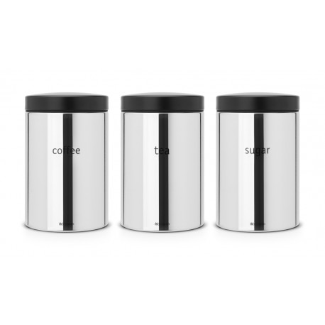 Set 3 Canister 1.4L cm. Tea, Coffee, Sugar Inox Lucido 204166