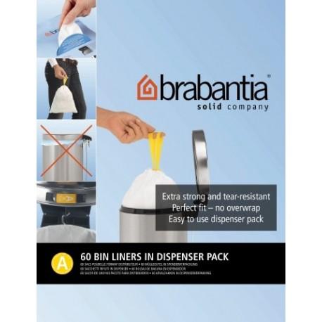 Bin Liner A dispenser da 60 sacchetti rifiuti 3L Bianco 348983