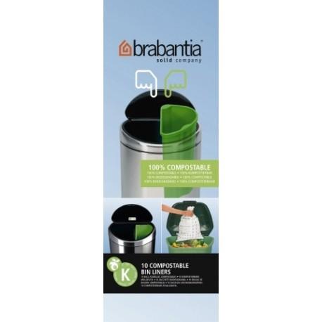 Compostable Bin Liner K rotolo da 10 sacchetti rifiuti 10L Verde 364983